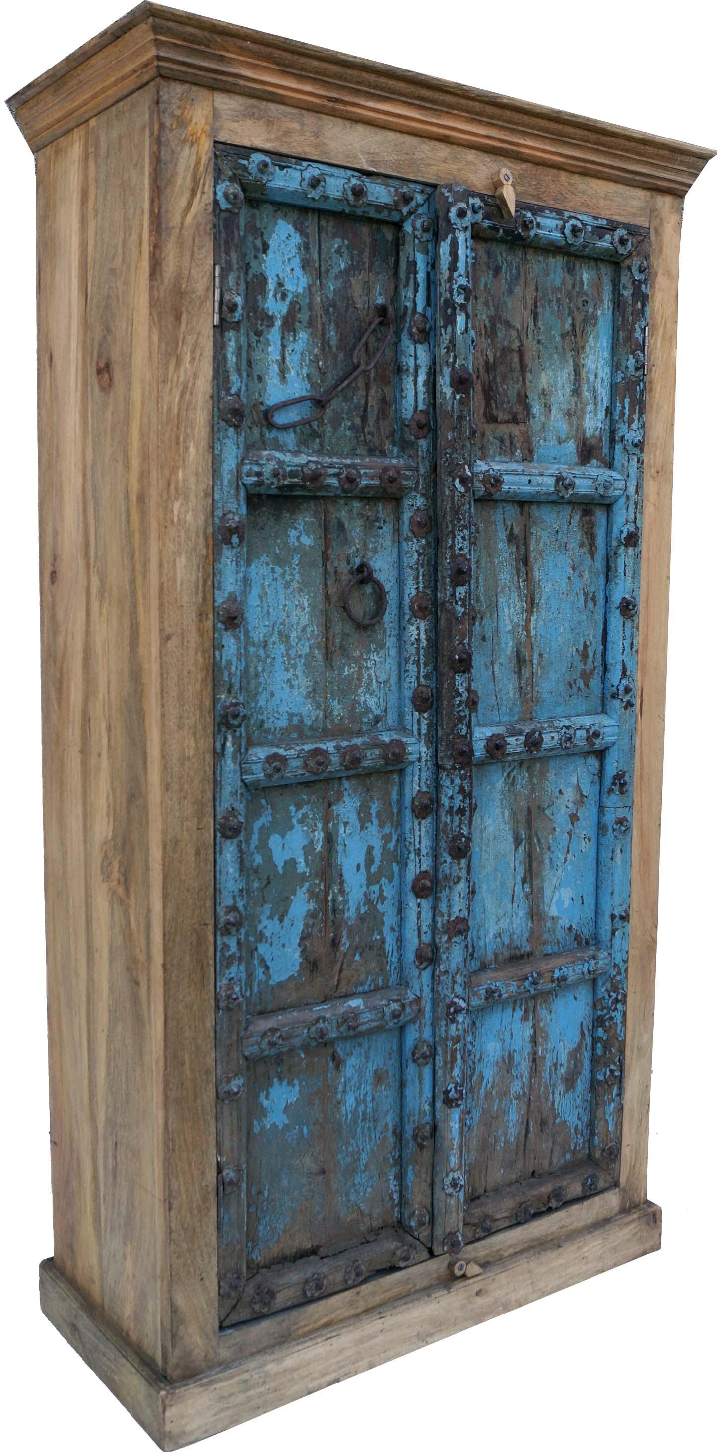 schrank kleiderschrank massivholz kolonialstil indien 188x100x45 cm. Black Bedroom Furniture Sets. Home Design Ideas