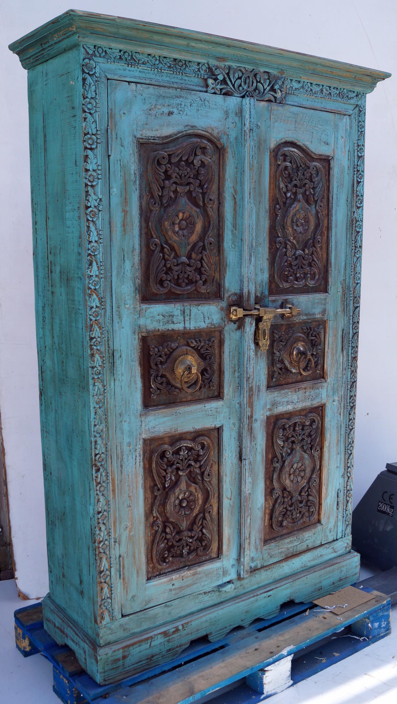Schrank, Kleiderschrank, Massivholz, Kolonialstil Indien - 194x112x44 cm
