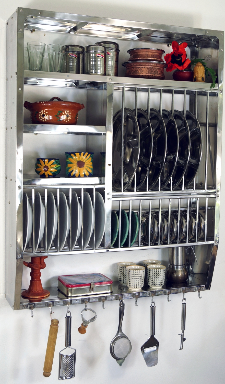 Edelstahl Küchenregal, Wandregal Miniküche mit Ablage für 16 Teller ...